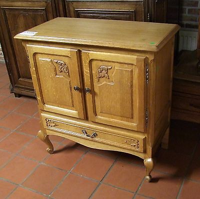 Louis Xv Style Vintage French Carved Oak 2 Door/1 Drawer Side Cabinet  (030068)