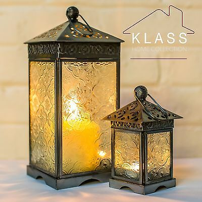 Moroccan French Style Silver & Clear Patterned Glass Lantern (Candle Holder)