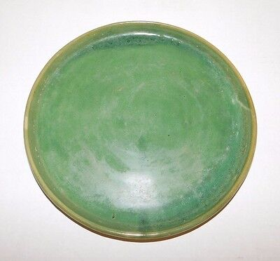 Antique Early Signed Bybee Ky Pottery Handmade Green Glaze #211 Serving Plate