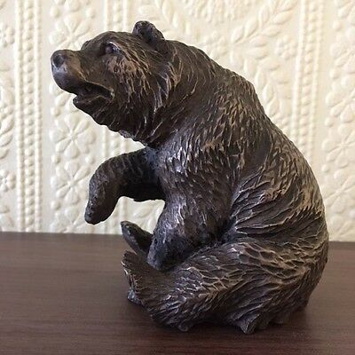 Bronze Brown Bear Sitting Statue Ornament