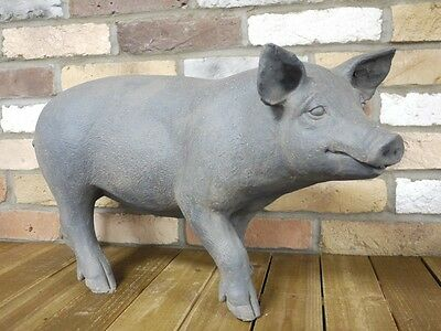 Oink Vintage Pig Outdoor Garden Art Sculpture Statue Animal Ornament Large 63cm