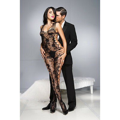 Music Legs Rozenprint Catsuit - Zwart / Bodystocking /  Rosen /1027