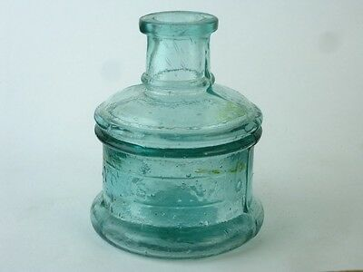 11744 Old Vintage Glass Bottle - Ink Well Inkwell - Round Lyons