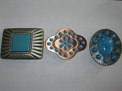 BELT BUCKLE lot of 3 FAUX TURQUOISE copper silver tone WESTERN COWBOY large VGUC
