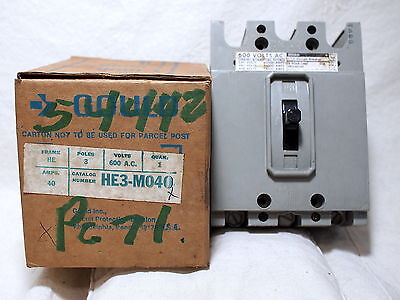 Ite Gould He3-M040 *new* Circuit Breaker 3P 40A He Frame 600Vac (1H0)