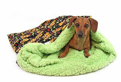 Weenie Pocket, Dachshund bed, snuggle sack, warmer, custom Zombie print