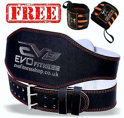 """EVO 6"""" 4"""" Pure Leather Gym Belts Weightlifting Back Support Strap Bodybuilding"""