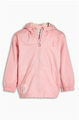 BNWT Girls Pink Cotton Coat Jacket With Hood & Floral Lining & Rabbit Logo 4-5 Y