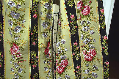 Pretty Vintage French Curtain panels 1940s Bold Boudoir Ticking Curtains