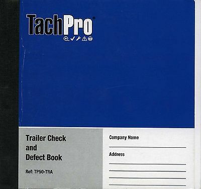 Tachpro Trailer Daily Defect Check Report Book 48 Duplicate Pages