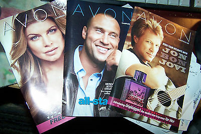 3 Exp. Avon Brochures w Celebrity Covers Derek Jeter Bon Jovi Fergie Collectible