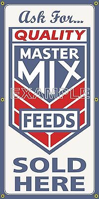 Master Mix Feed Store Agricultural Old School Sign Remake Banner Barn Art 2X4