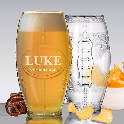 Custom Engraved Football Tumbler Beer Glass - Personalized on BOTH sides