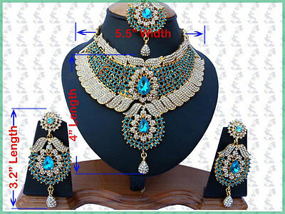 Indian Costume Jewellery Set Turquoise Clear Stones Gold Plated New - Aq/