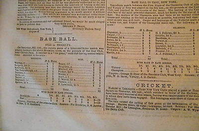 1860 Pre Civil War Sports Newspaper ~ Early Baseball Accounts!!!  Boxing!