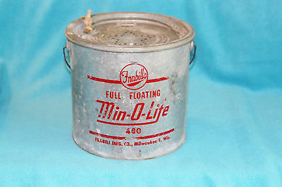 VINTAGE GALVANIZED FRABILL'S FULL FLOATING MIN-O-LITE MINNOW BUCKET - No. 480