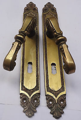 Vintage Pair Solid Brass Door Lever Handles Set + Backplates Free Shipping Lot 2