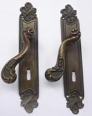 Lot 2 Original Vintage Solid Brass Door Lever Handles on Backplates Free Shiping