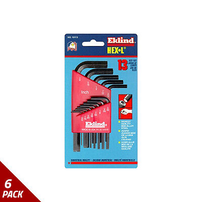 "Eklind Tool Company Hex Key Set 13pc SAE Short .050-3/8"" [6 Pack]"