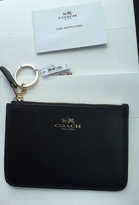 Coach Authentic Key Pouch Credit Card & Coin Wallet In Pebbled Black Leather Nwt