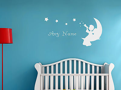 Personalised Angel Any Name Room Vinyl Wall Sticker Decal Kids Bedroom Decor
