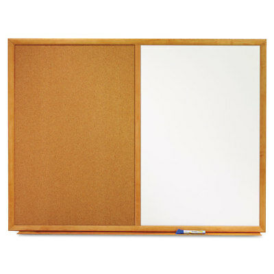 Bulletin/Dry-Erase Board, Melamine/Cork, 48 x 36, White/Brown, Oak Finish Frame
