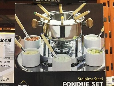 Premier Stainless Steel Fondue Set With Rotating Lazy Susan 5018705508825