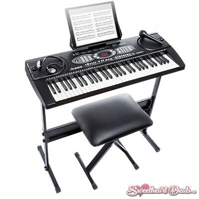 Alesis Melody 61 Key Portable Keyboard Piano Bundle Stand Bench Headphones Mic!