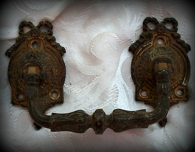 French vintage bronze furniture handle with garland top.