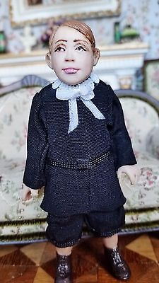 Dollhouse Miniature Artisan Hand Sculpted Clay Doll Boy In Black Outfit