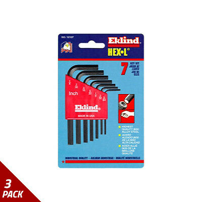 "Eklind Tool Company Hex Key Set 7pc SAE Short 5/64-1/4"" [3 Pack]"