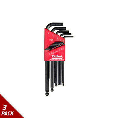 "Eklind Tool Company Hex Key Set 13pc Ball End SAE Long .050-3/8"" [3 Pack]"