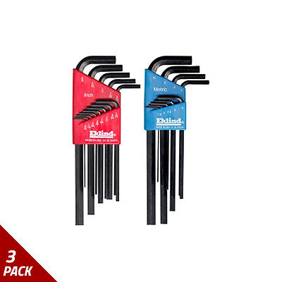 Eklind Tool Company Hex Key Set 22pc Sae/Metric Long  [3 Pack]
