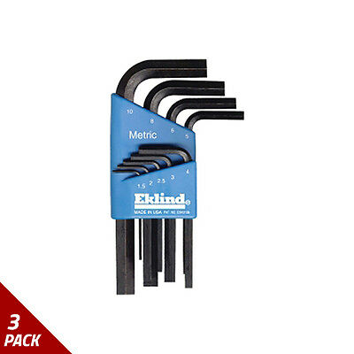 Eklind Tool Company Hex Key Set 9pc Metric Short 1.5-10mm [3 Pack]
