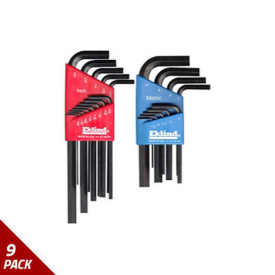 Eklind Tool Company Hex Key Set 22pc Sae/Metric Short/Long [9 Pack]
