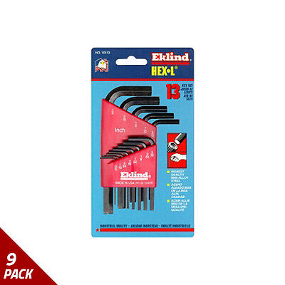 "Eklind Tool Company Hex Key Set 13pc SAE Short .050-3/8"" [9 Pack]"