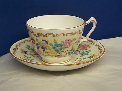 CROWN STAFFORDSHIRE  FOOTED CUP & SAUCER   scrolls, butterflies, birds & flowers