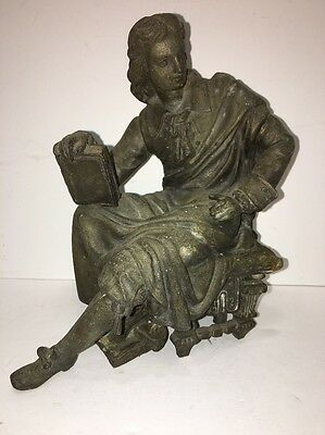 Antique  Spelter Metal Renaissance Man with Book Shakespeare?
