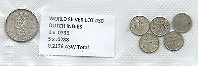World Silver Coins Lot #30 Dutch Indies .2176 Asw Troy Ounces
