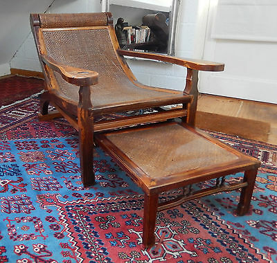 Antique Chinese Asian Lounge Opium Recliner Plantation Chair With Foot Rest