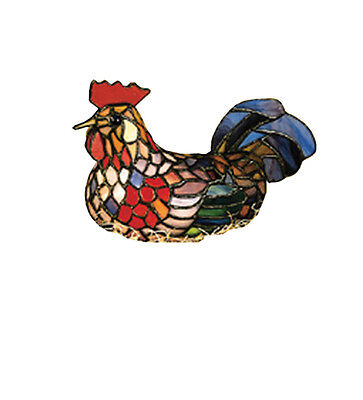 """Meyda 12122 6.5""""H Tiffany Style Stained Glass 1-Light Rooster Accent Lamp"""