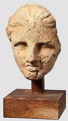 Ancient Hellenistic terracotta Head of a Young Woman.