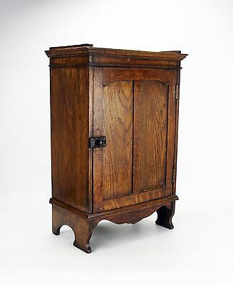 Edwardian Oak Cabinet with Shelves and Fitted Drawer