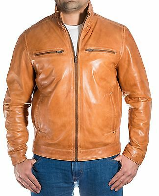 Mens Brown Tan Real Italian Wax Leather Classic Casual Long Zipper Bomber Jacket