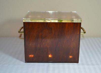 Mid Century Modern/Art Deco Amber Lucite Hinged Box w/ Handles, Clear Lid