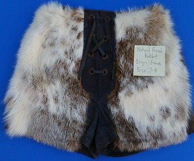 Vintage, Natural French Rabbit, Women's Fur Shorts, W/ Front Lacing, Size 7/8