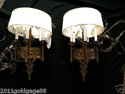 Pair Antique Chandeliers,from 1900S, Beautiful,five Light Each,original Chains.
