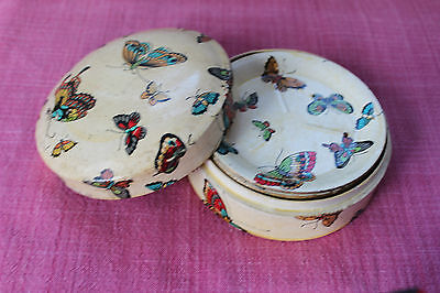 Vintage Papier Mache Butterfly Round Coaster Set of 8 in Box - Japan