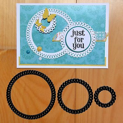 Craft Concepts Nested Teardrops Scalloped Circles Cutting Dies 3 Pce - Bnip