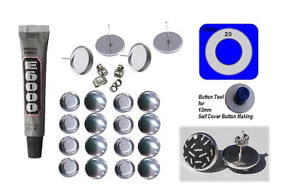 50 x  12mm Self Cover New Style Button Earring Kit Silver Bezel & Rim Finish